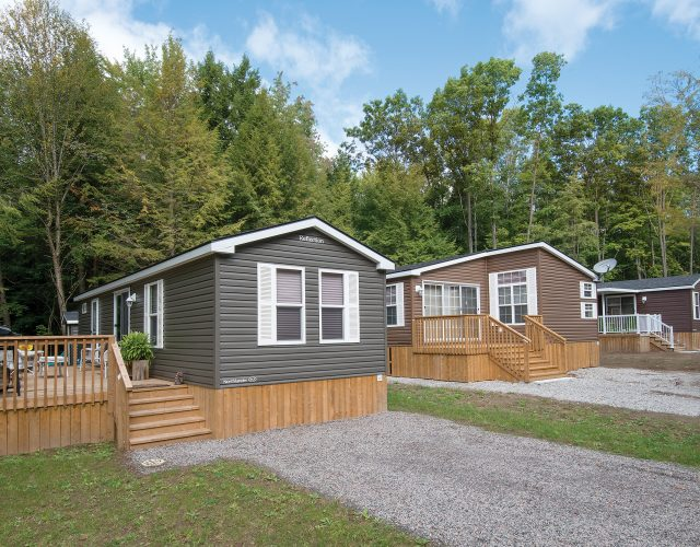 Backing onto forest and nature, these Northlander Park Models are the solution to affordable cottage ownership in Ontario!