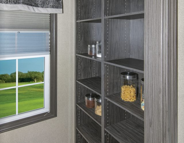 Built in pantry so that you never have to run out of room