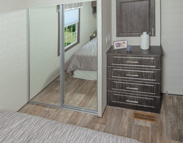 Northlander Escape Park Model | Bedroom Closet with Mirrors